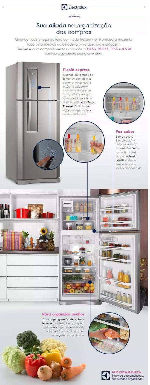 Geladeira / Refrigerador Duplex 427 litros Frost Free Branco Blue Touch DF53 - Electrolux 110 V 3