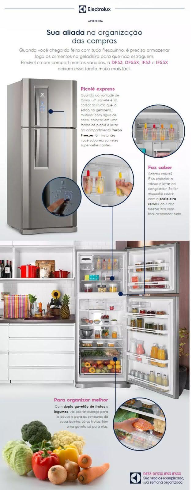 Geladeira / Refrigerador Duplex 427 litros Frost Free Branco Blue Touch DF53 - Electrolux 110 V 17