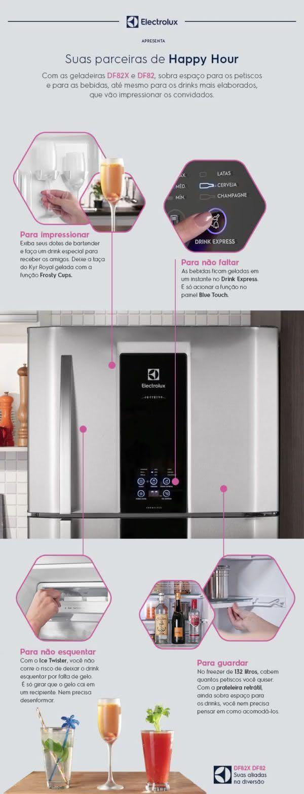 Geladeira / Refrigerador Duplex 553 litros Frost Free Branco Blue Touch DF82 Electrolux 110 V 2