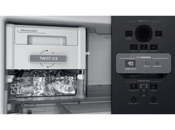 Geladeira / Refrigerador Inverse 478 litros Frost Free Turbo Ice e Adega Inox - BRE58AKBNA - Brastemp 220 V