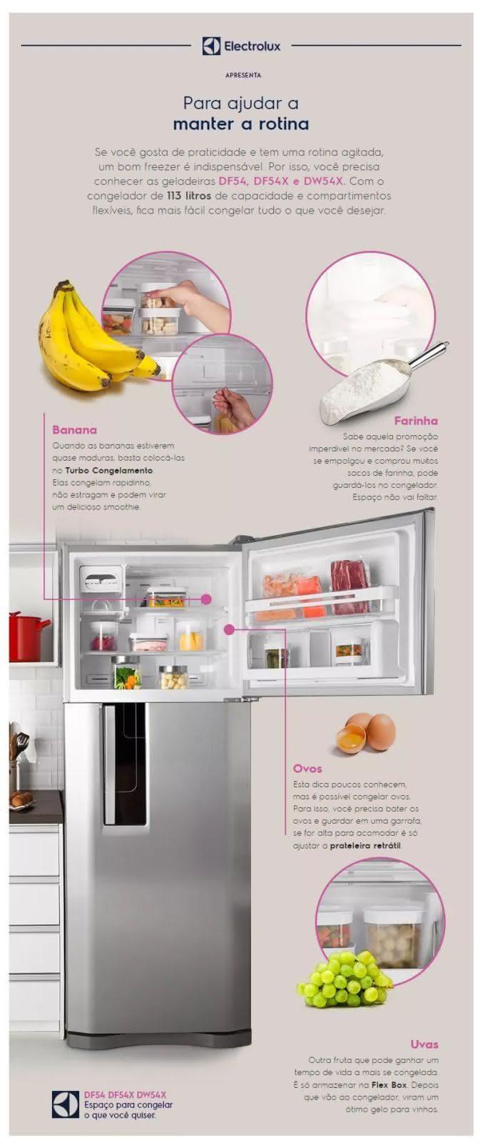 Geladeira / Refrigerador Duplex 459 litros Frost Free Branco Blue Touch DF54 - Electrolux 220 V 14
