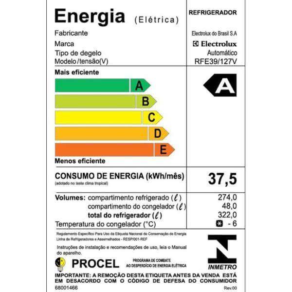 Geladeira / Refrigerador 323 litros Frost Free Branco Painel Blue Touch RFE39 - Electrolux 110 V 9